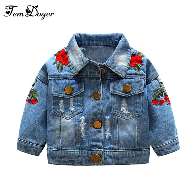 Tem Doger Baby Girls Outerwear Coats 2018 Newborn Infant Baby Jeans Coat for Girl Ripped Outwear Bebes Embroidery Denim Jackets