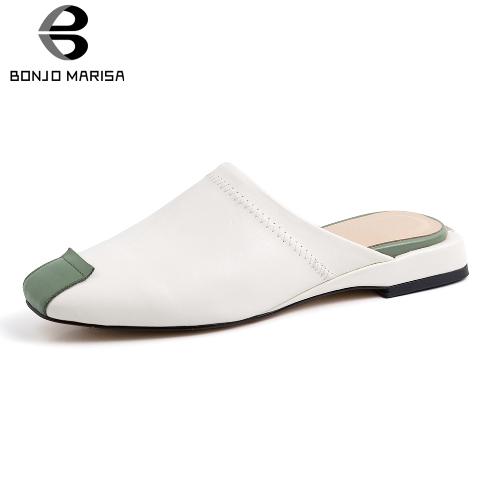 BONJOMARISA New Literature Art Genuine Leather Shoes Slippers Woman Summer Low Heels Sillpers Women Shoes Woman Size 33-40BONJOMARISA New Literature Art Genuine Leather Shoes Slippers Woman Summer Low Heels Sillpers Women Shoes Woman Size 33-40