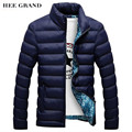 HEE GRAND Men's Fashion Casual Parkas Solid Color Stand Collar Cotton Material Slim Winter Outwear 4 Colors Plus Size MWM1380