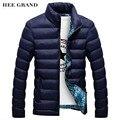 HEE grandes homens Moda Casual Parkas Gola Cor Sólida Material de Algodão Fino Inverno Outwear 4 Cores Plus Size MWM1380