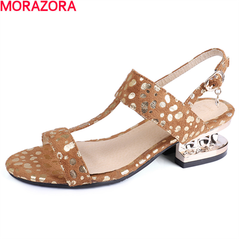 MORAZORA 2020 new arrival spring summer women sandals buckle high heels simple leisure shoes big size