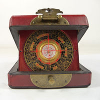 Old china handwork wood usable compass with box paint dragon phoenix Boxes