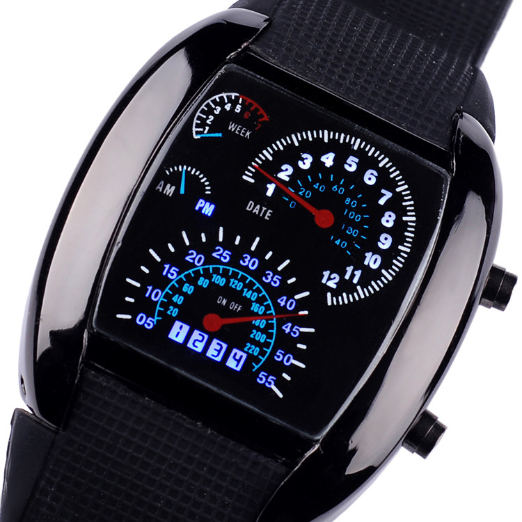 aliexpress com buy hot led electronic sector digital men s led electronic sector digital men s aviation watches black belt sports car meter dial wrist watches r11 b from reliable watch it pocket watch suppliers on