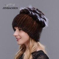 JINBAOSEN Real mink fur winter hat female patchwork rex rabbit fur cap female fox fur warm hat elegant