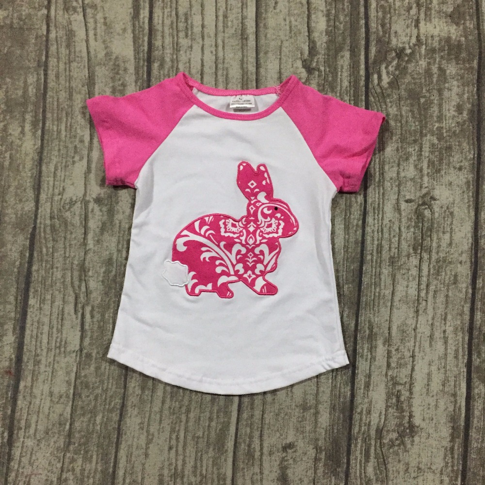 new arrival Easter baby girls print hot pink bunny cute kid wear cotton boutique top T-shirts raglans clothes white short sleeve rhinestone happy easter white top shirt hot pink bunny rabbit satin trim baby girl skirt set 1 8y mapsa0494