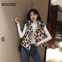 RUGOD Fashion Leopard Printed Sleeveless Jacket Vest Korean Office Lady Spring Single breasted Cotton Tank tops Padded Vest