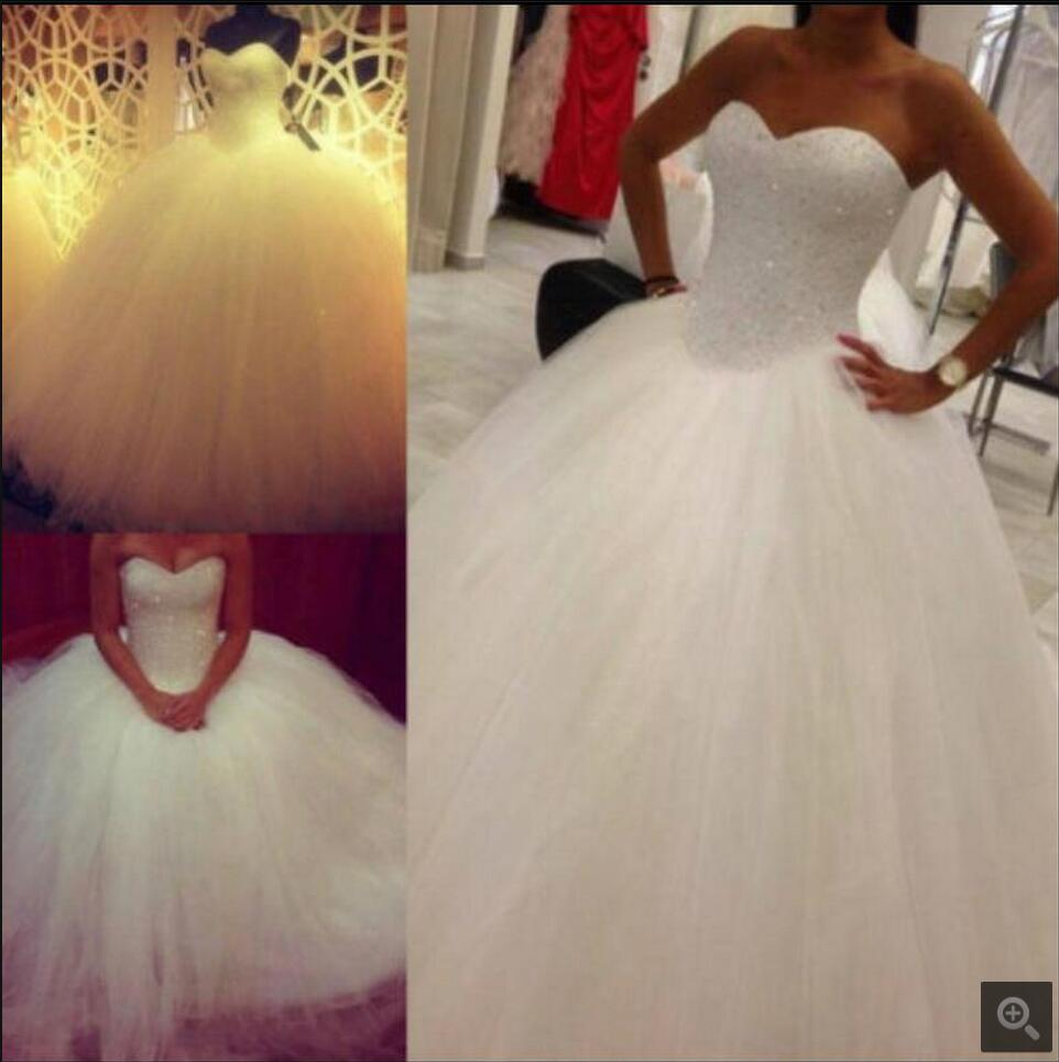 2016 Elegant Ball Gown Real Picture Wedding Dress Formal Strapless Puffy Sweetheart Neck Bridal Gowns Best Selling