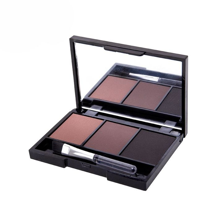 Hot 3 Colors Eyebrow Powder Shadow Palette With Soft Brush And Mirror  Long Lasting natural Palette Professional Kit for Women 2