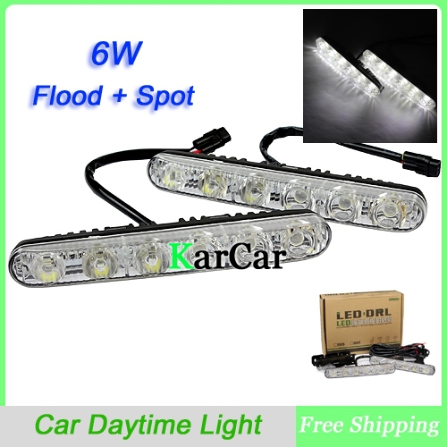 Hot Sale Universal Waterproof 6 LED 6W High Power Flood & Spot Car Daytime Running Light, Car Fog Light White 12V DRL Lamp high quality h3 led 20w led projector high power white car auto drl daytime running lights headlight fog lamp bulb dc12v