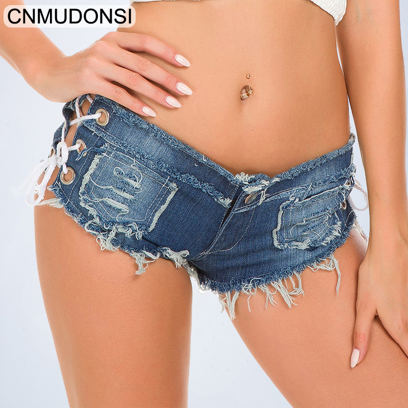 Summer Solid Lacing Women Denim Shorts 2019 New Hole Short Feminino Slim Sexy Bandage   Jeans   Shorts Female Ripped Short Pants