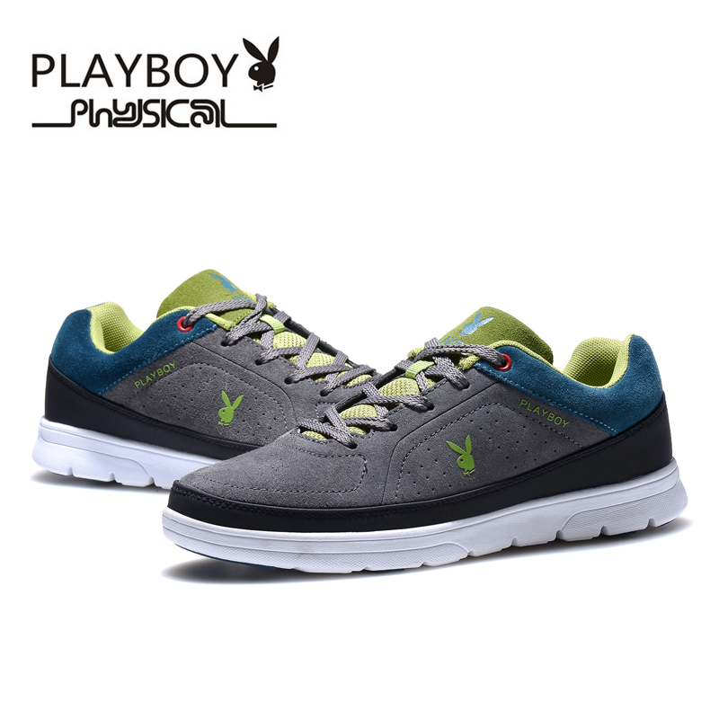 PLAYBOY Fashion Men Casual Shoes Genuine Leather Spring Autumn Men Rubber Shoes Full Grain Leather Men Footwear Flat With  sneakers