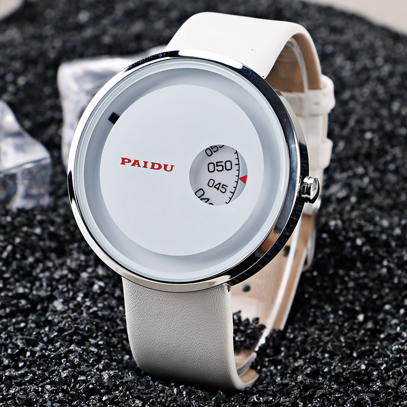 Unique Turntable PAIDU 3 Type Black Quartz Watch Clock Hour Leather Band  Mens Boys Analog Gift Wristwatches relogio masculino paidu fashion unique brand black silver quartz metal mesh band wrist watch mens boy turntable dial digital gift wristwatches