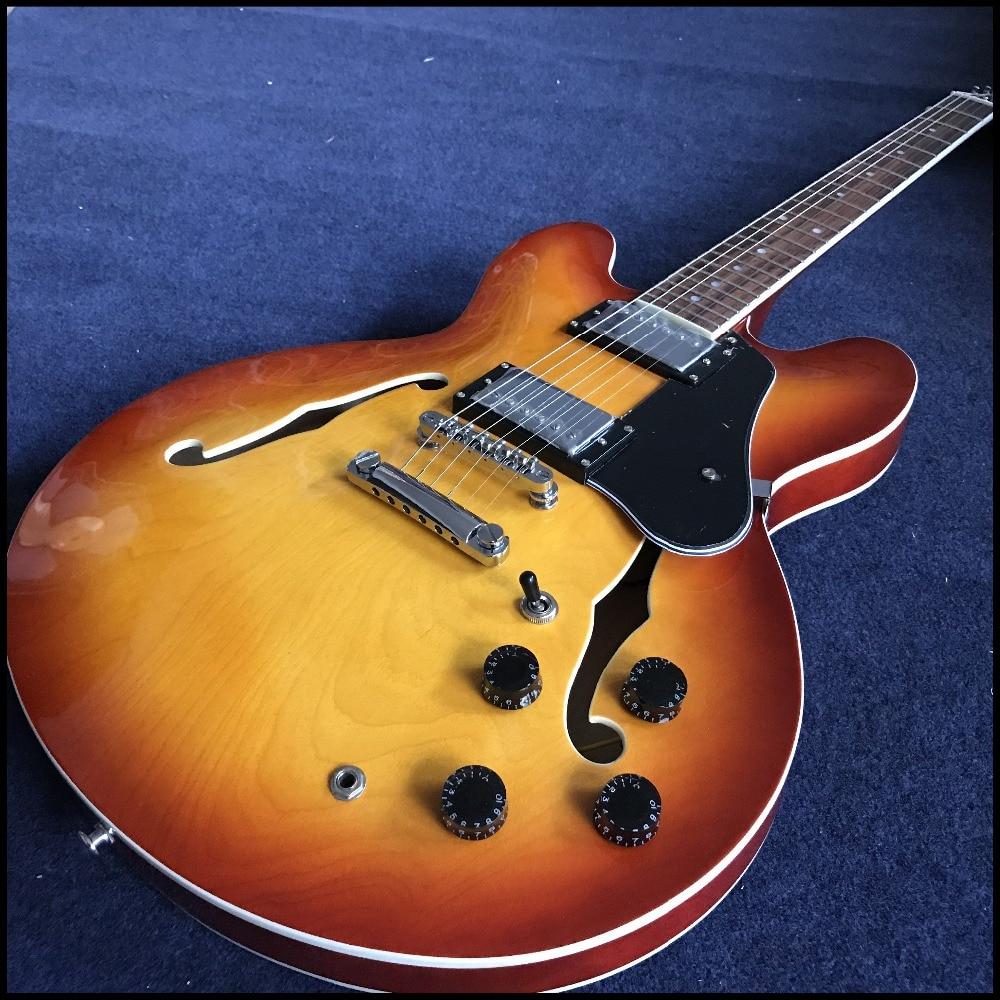Vice-présidents nouveauté qualité supérieure jazz guitare électrique dans cherry burst avec chrome matériel, avec f trous guitarra