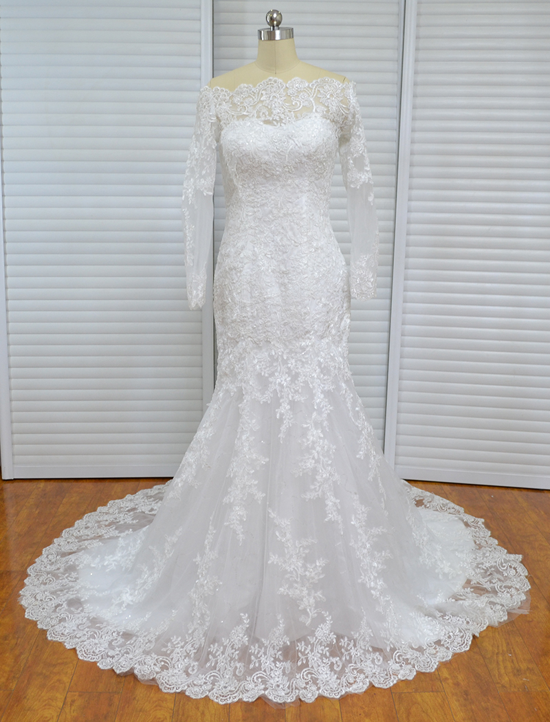 Único Sereia Alta Neck Apliques Vestidos de Casamento Do Laço Do Vintage Mangas Compridas vestido de Noiva Praia Mulheres Vestido Africano - 2