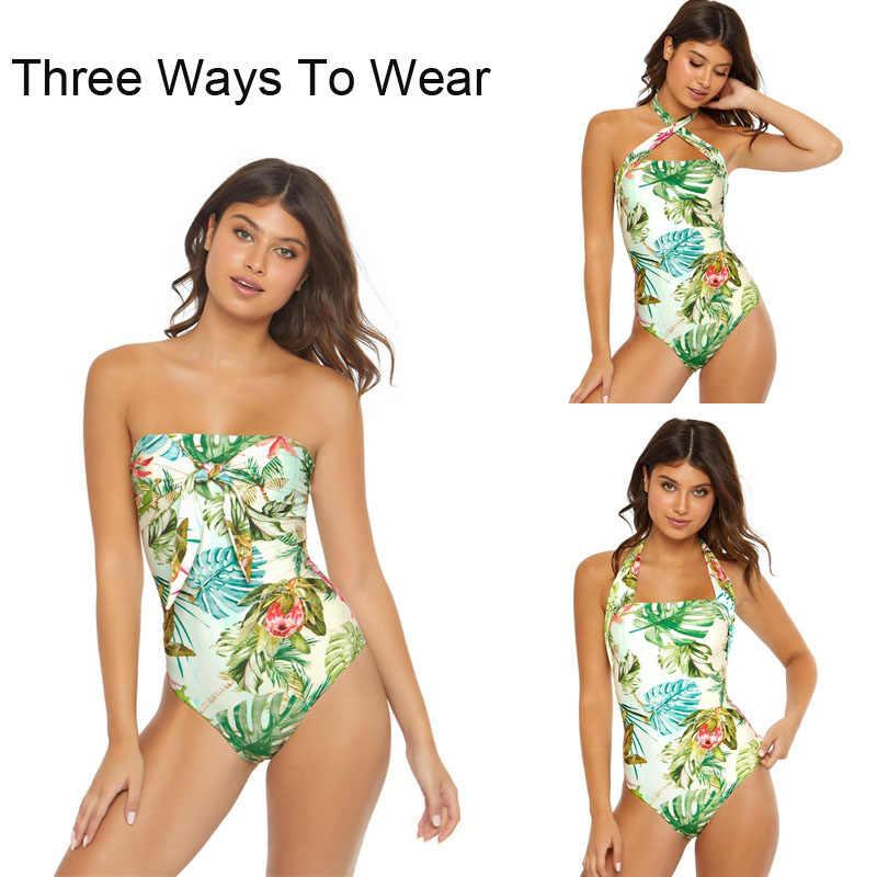 Sexy bandeau monokini tropical maiô uma peça maiô feminino bandagem banho feminino menina fatos de banho folha flor triquini