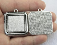 WYSIWYG 1pc 25mm Inner Size Antique Silver Square Cameo Cabochon Base Setting Charms Pendant