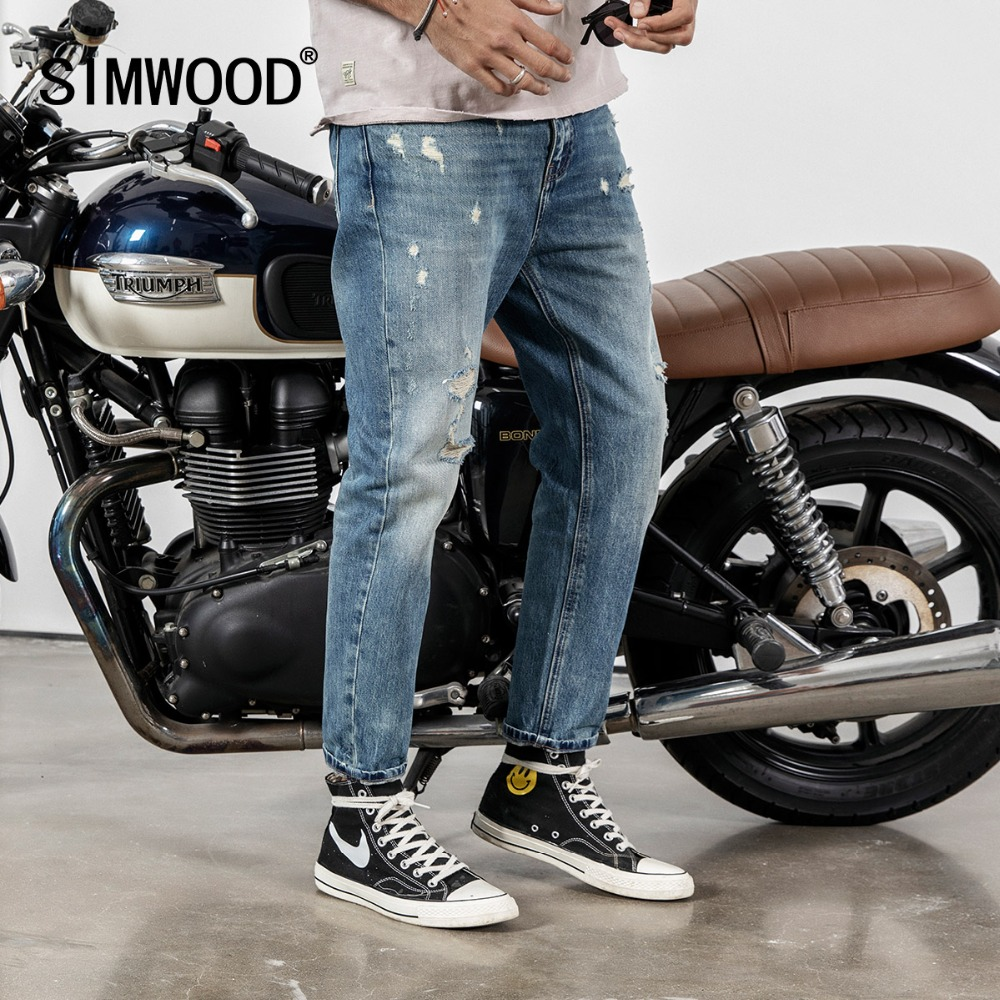 SIMWOOD New 2020 Spring Jeans Men Hole Ankle-Length Pants Cotton Denim Trouser Male Slim Fit Brand Clothing High Quality 190023