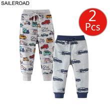 SAILEROAD 2pcs Children Sweatpants Children Casual Sport Pants Car Vehicle Enfant Kids Trousers Boys Full Pants Kids Trousers