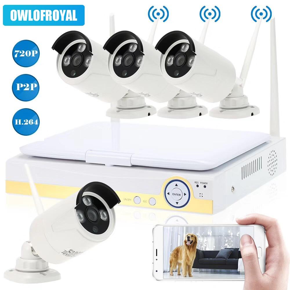 4CH 720P WiFi Wireless Surveillance NVR Kits CCTV Bullet Camera System Wireless LCD Display Hard Disk Recorder IR Night Vision цена
