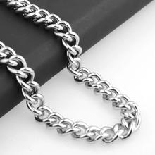 Granny Chic High Quality 316L Stainless Steel 11mm Heavy Silver Curb Mens Cuban Chain Necklace Or Bracelet jewelry 7