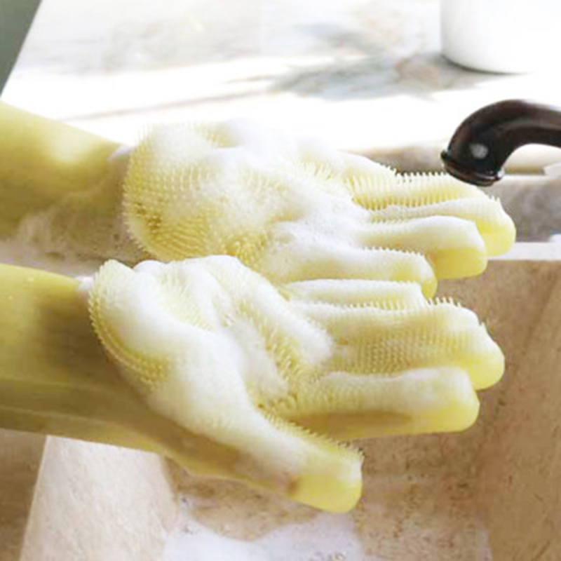 Super Design Silicone Lazy Dishwashing Gloves Thick Durable Convenient Multi-purpose Scrub Brush Gloves Cleaning Tools For Home