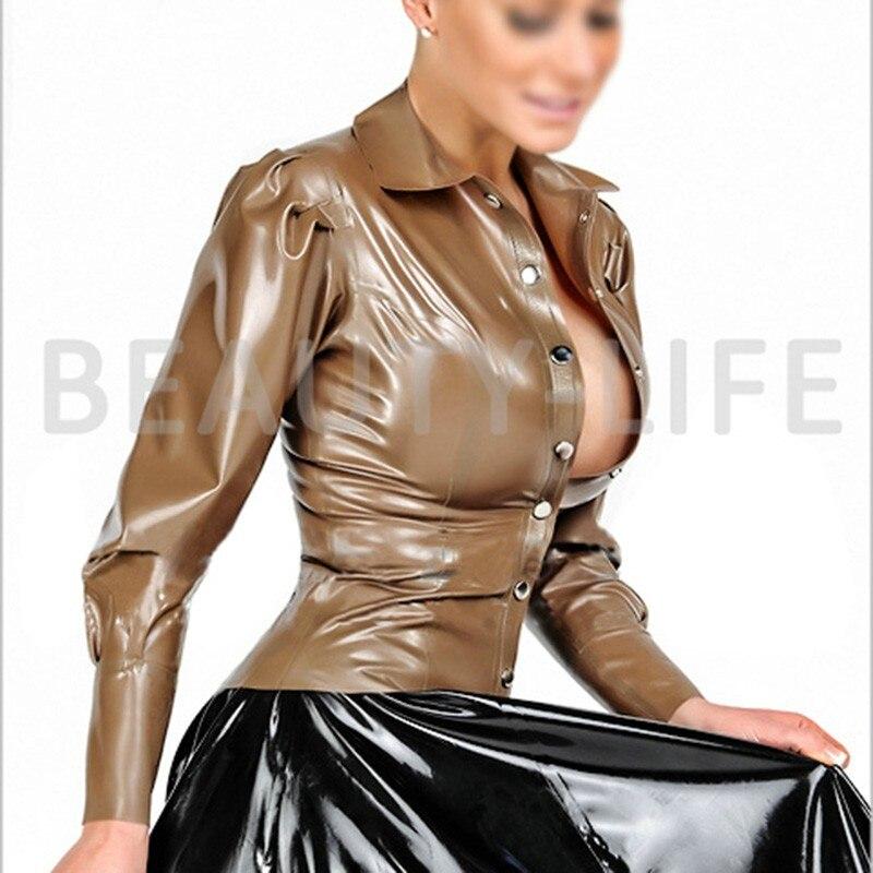 Латексные костюмы блузка для женщин Фетиш экзотика рубашки сексуальные размера плюс Кастомизация натуральный ручной работы