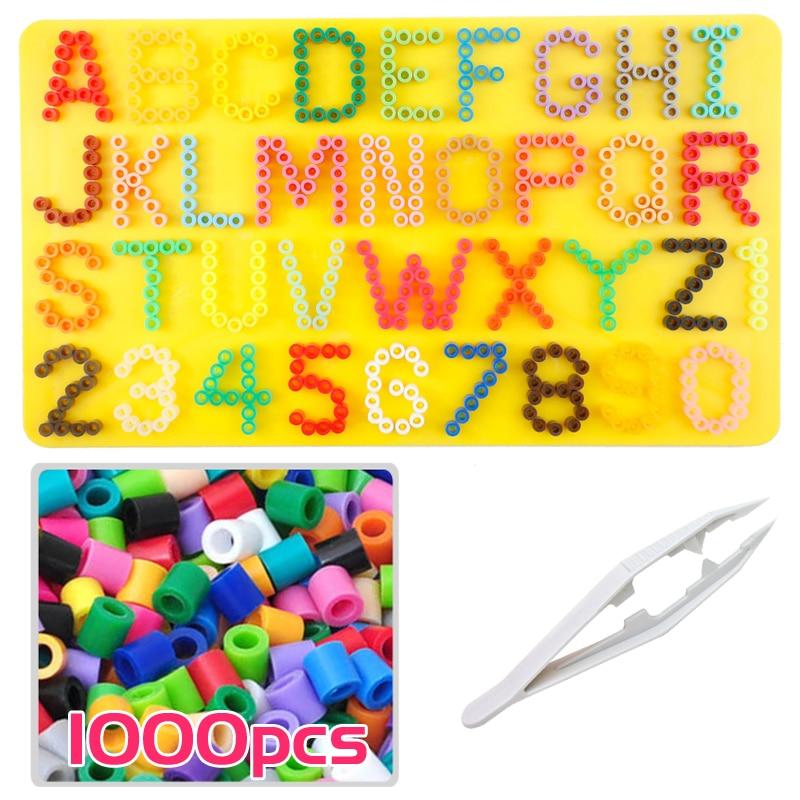 5mm menggunakan Alphabet dan nomor pegboard / papan untuk Fuse / perler / pix / hama / besi / melty / melting beads Anak kerajinan DIY mainan Pendidikan