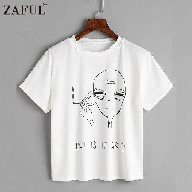 ZAFUL Character Smocking Letter Crop Top Women T-Shirts Femme Harajuku Shirt  Cotton O Neck