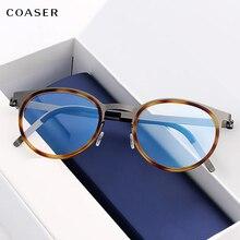 Montura de gafas de titanio para hombre, gafas redondas de metal Vintage, gafas graduadas para Miopía
