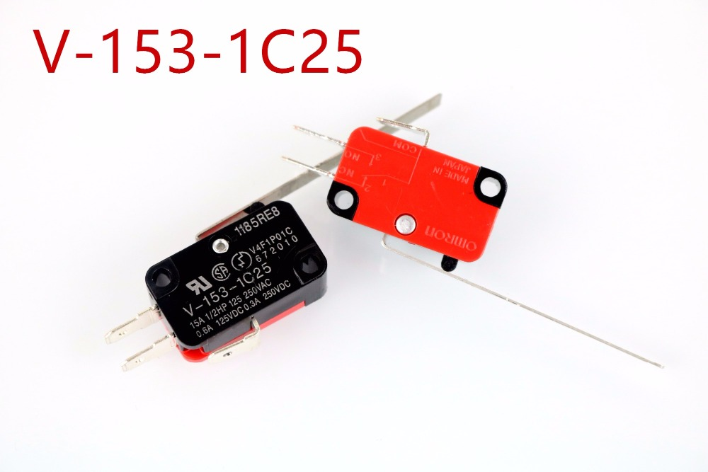 V-153-1C25 travel switch, 15A, 250V, Long Straight Hinge Lever Momentary Miniature Micro Switch nching switch, 100pcs v 152 1c25 straight hinge lever ac dc micro switch