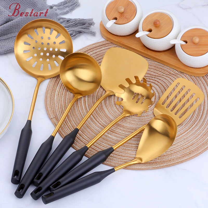 7PCS Kitchen Knife Cooking Set 304 Stainless Steel Spatula Soup Spoon Special Cooking Shovel with Hollow Handle Kitchen Tools