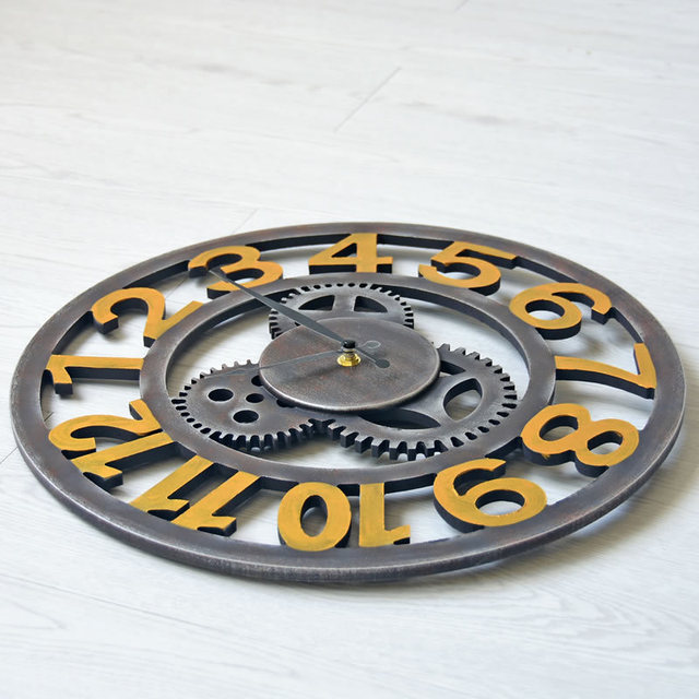 40CM LOFT industry Style Retro Gear Arab Digital Wall Clock Hollow out Large Clocks Bar restaurant Decoration