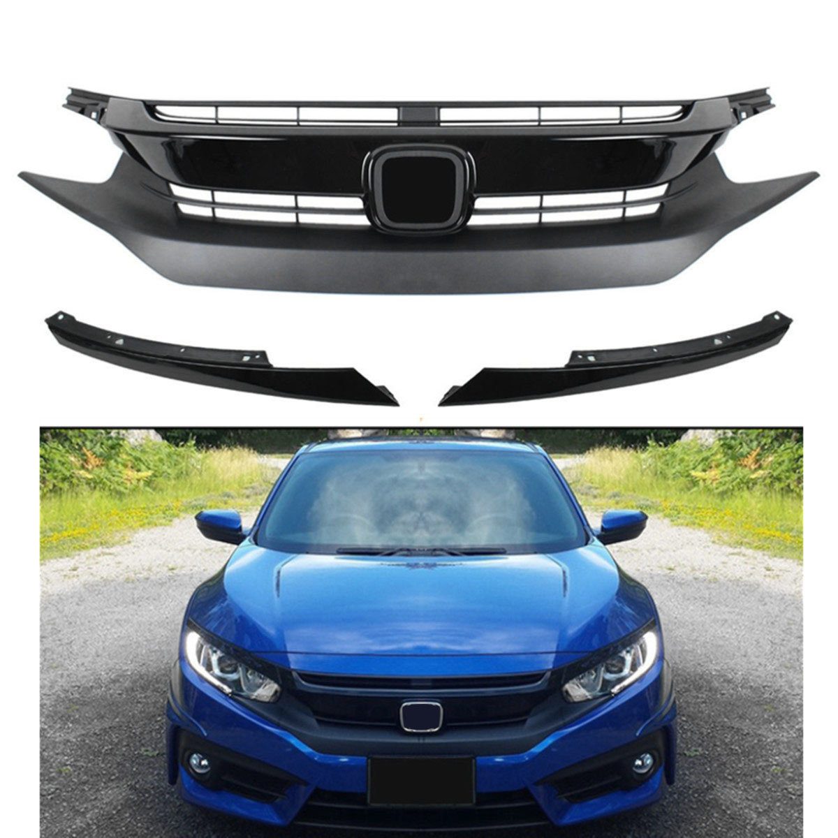 1Set Car Front Hood Grille Grill&Headlight Eye Lid for Civic 10th 2016-2017 Gen Plastic  ...