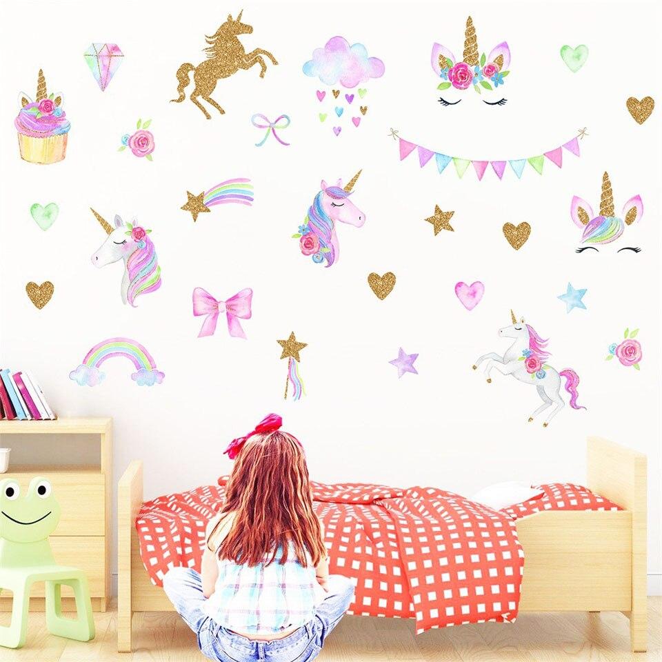 Cute Cartoon Unicorn Wall Stickers For Kids Room Girls Bedroom Home Decor DIY Flamingo Animal Wallpaper Wall Art Mural Decals