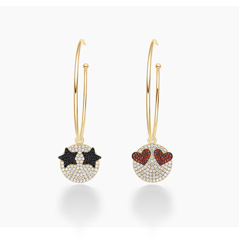 SLJELY 925 Sterling Silver Gold Color Funny Emoticon Hoop Earrings Women Girls Ziconia Star Love Heart