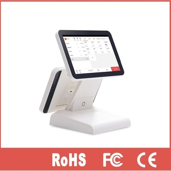 Dual screen 15 inch and 12 inch led monitor pos touch system
