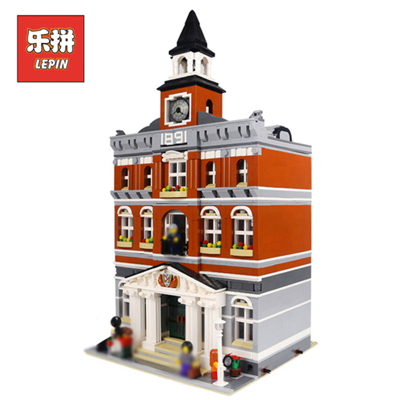 Lepin 15003 City Street Series Creative the Town Hall Set DIY Model Building Kits Blocks Bricks Toys For Children Christmas Gift lepin 15036 genuine street series the new carousel diy set model building kits blocks bricks children toy hobbies christmas gift