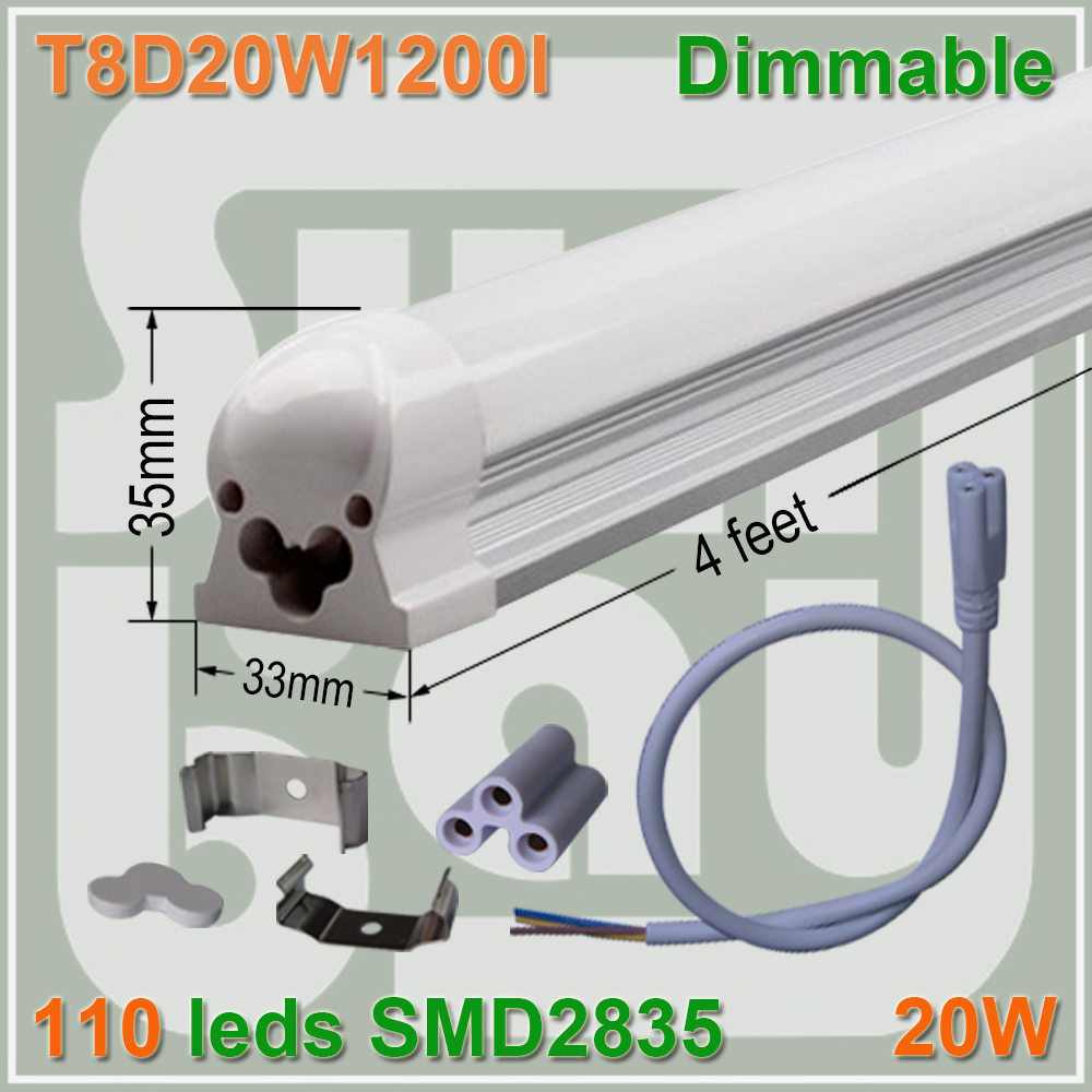 54pcs lot free shipping Dimmable T8 integrated font b tube b font 4ft 1200mm milky clear