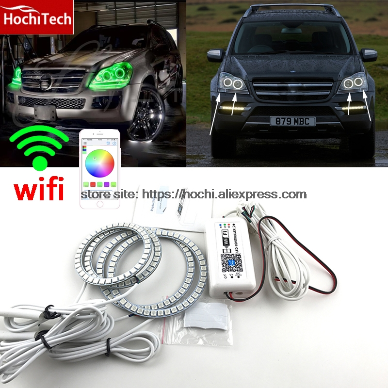 HochiTech RGB Multi-Color halo rings kit car styling for Mercedes-Benz GL-Class X164 GL450 07-12 angel eyes wifi remote control
