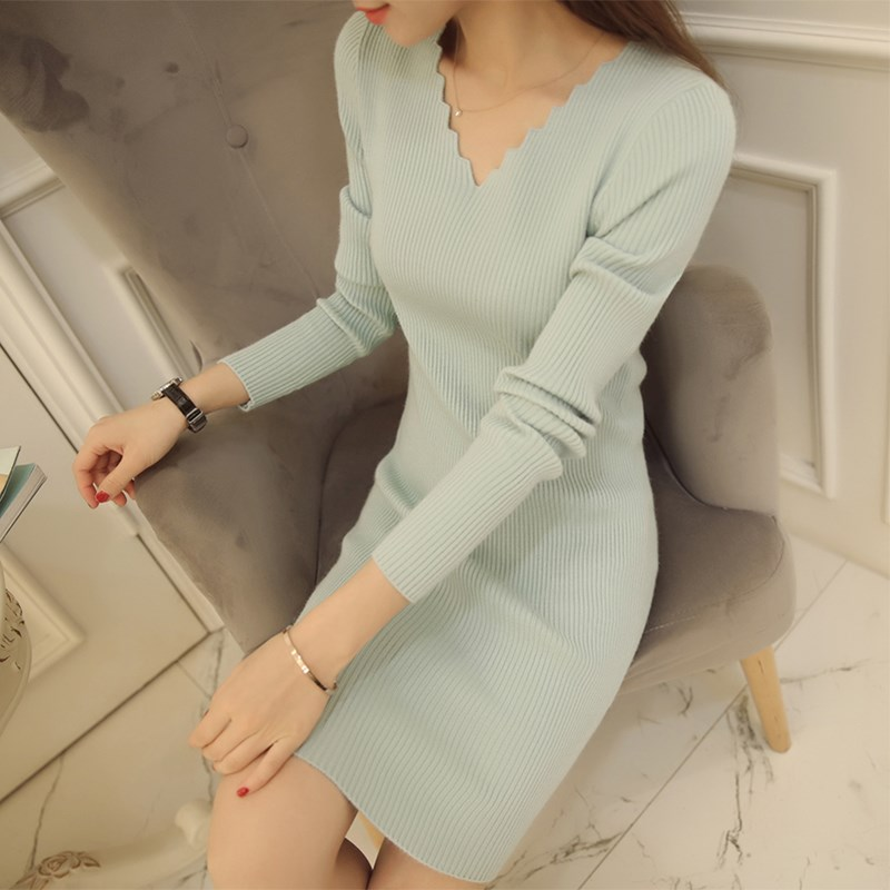 2018 New Autumn Women Sexy Long Sleeve Thin Knitted Sweater Dress Female V neck Basis Slim