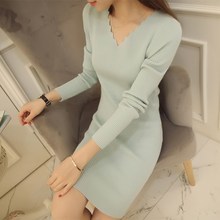 2019 New Autumn Women Sexy Long Sleeve Thin Knitted Sweater Dress Female V neck Basis Slim