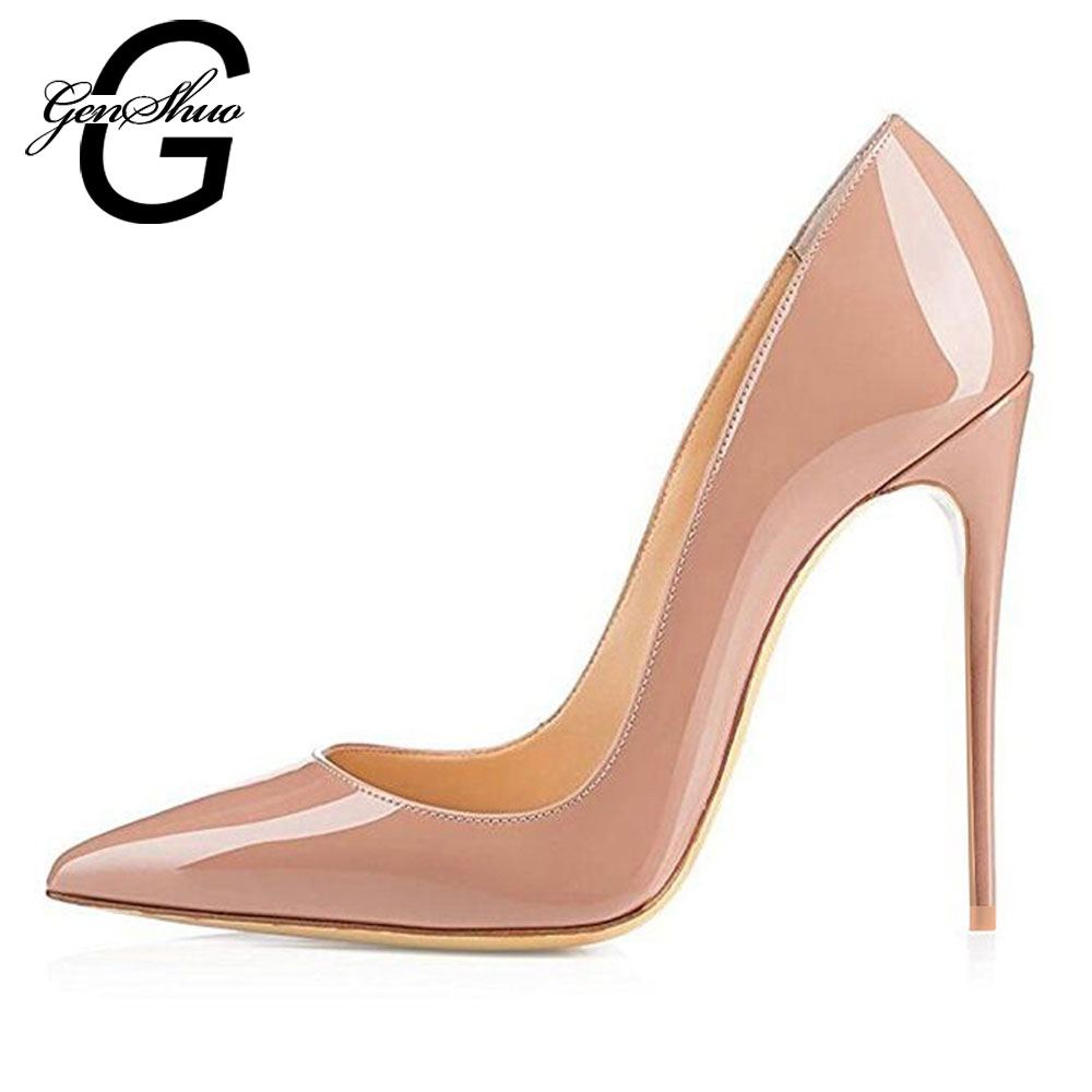 GENSHUO 2019 Big Size 12 High Heels Women Pumps Thin Heel 8 10 12CM Classic Nude Stiletto Heels Pumps Sexy Prom Wedding Shoes