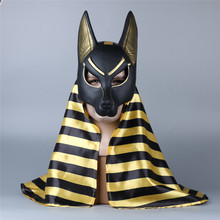 Takerlama Egyptian Anubis Cosplay Face Mask with Headscarf PVC Canis spp Wolf Head Jackal Animal Masquerade Party Halloween