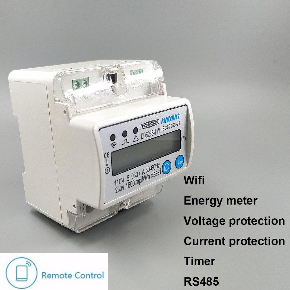 5 (60) un 110 V 230 V 50 HZ 60 HZ monophasé Din rail WIFI compteur d'énergie intelligent protection de courant de surtension RS485