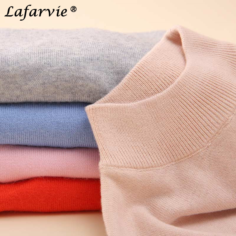 Lafarvie Hot Quality Cashmere Blended Full Sleeve Turtleneck Slim Autumn&Winter Sweater Famel Pullover 24Color S-XXL