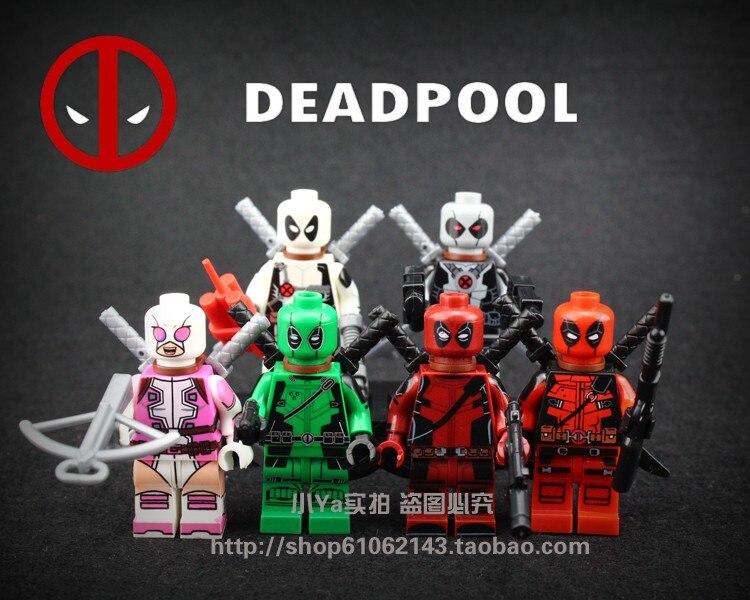 2017 6pcs/lot Super Heroes red /white Deadpool Figures Wilson Mutants Marvel Building Blocks Compatible With Legoe Brinquedos new mutants
