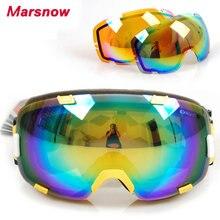 Поляризованные линзы+оранжевый объектив катание на лыжах очки мужчины женщины сноуборд очки двойной слой всепогодный УФ лыжные очки снег очки M0098