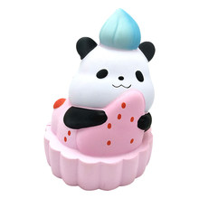 Cute Squishy Panda Pink Cake PU Slow Rising Rebound Simulation Cheese Cake Squeezing Squishy Squish squeeze and smile Toys(China)