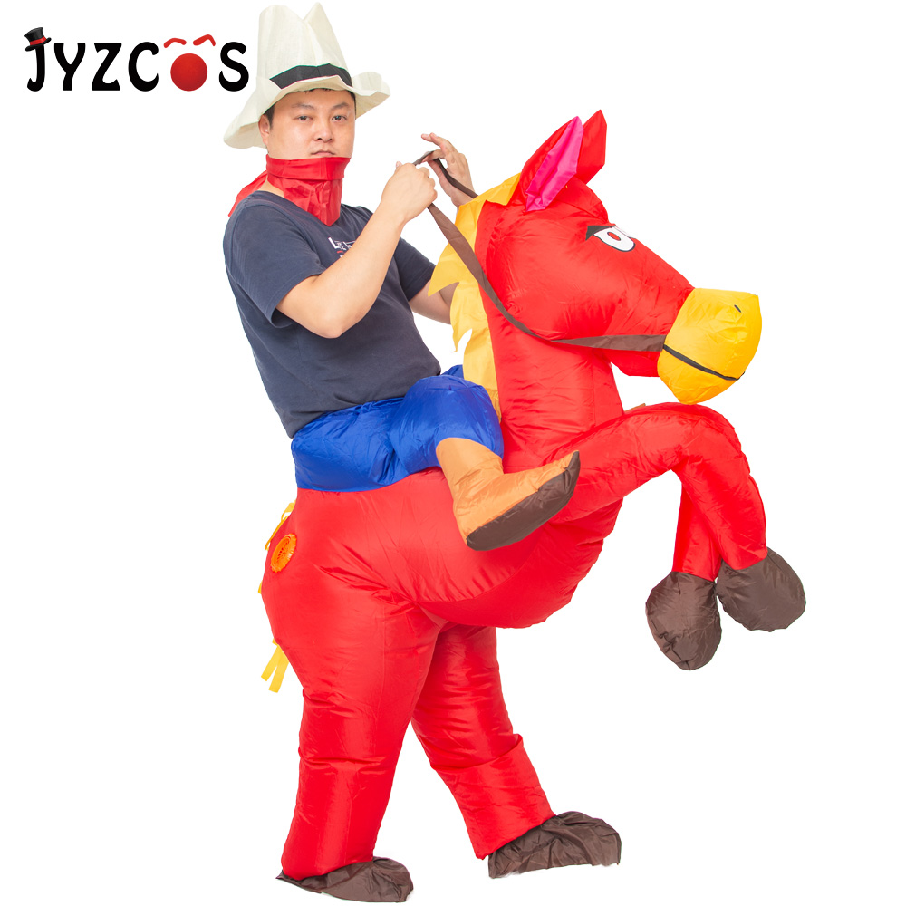 JYZCOS Cowboy Ride Horse Inflatable Costumes Purim Halloween Costumes for Woman Man Adult Kids Animal Cosplay Carnival Costume stuffed toy