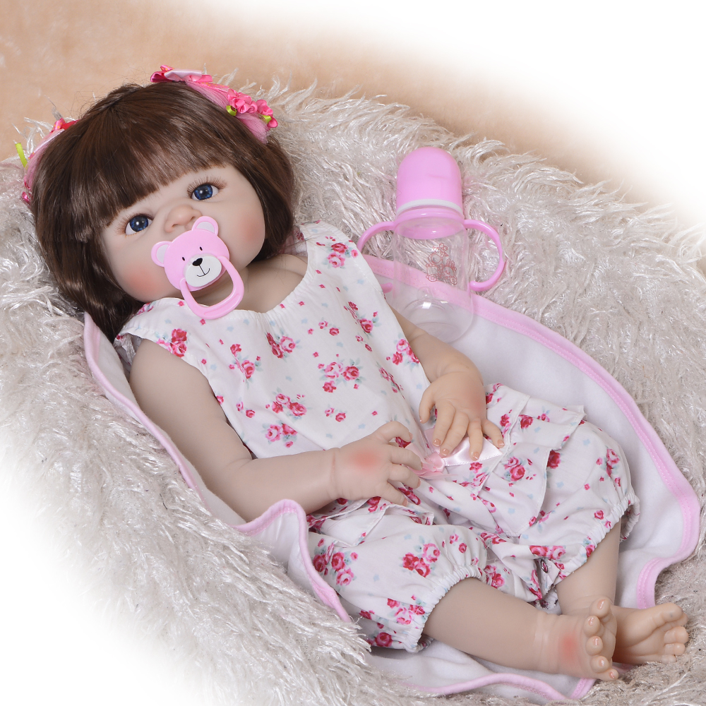 Realistic Reborn Dolls 23 Inch Handmade Rooted Synthetic Hair Bebe Reborn Boneca Full Silicone Lifelike Baby Doll Toys For Girls ucanaan 20 50cm reborn doll hair rooted realistic baby born dolls soft silicone lifelike newborn toys for girls xmas kids gift